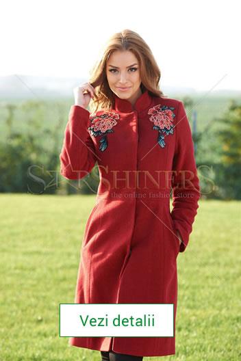 Palton rosu elegant de dama