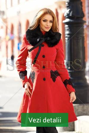 Palton de dama rosu cu guler de blana negru