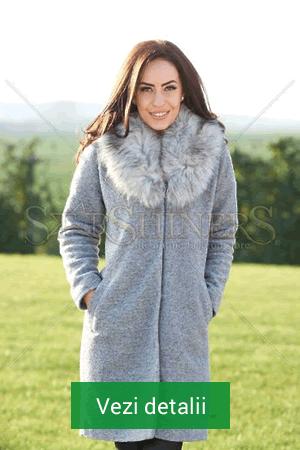 Palton de dama gri cu guler de blana