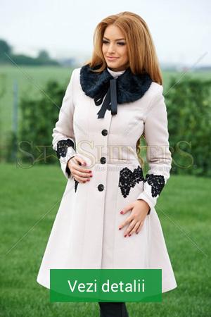Palton de dama alb cu guler de blana neagra