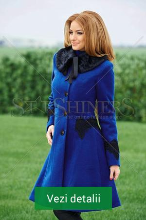 Palton albastru de dama cu guler