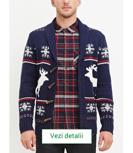 pulover de barbati cu reni albi