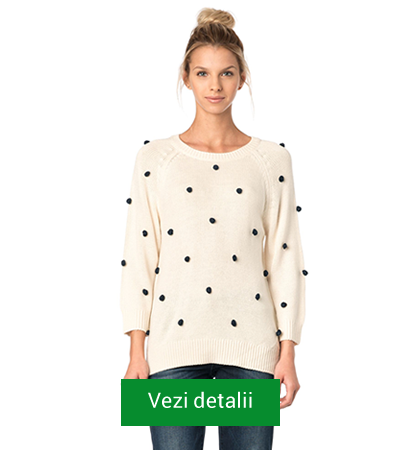 pulover de dama lung alb cu buline