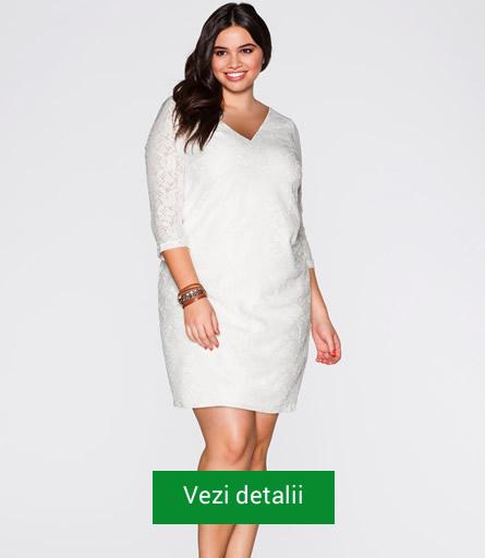 Rochie alba din dantela pentru femei grasute