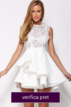 rochie alba scurta din dantela