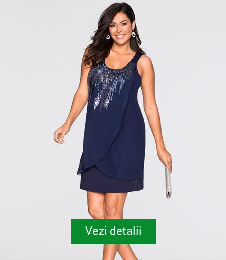 Rochie pentru grasute albastra cu paiete