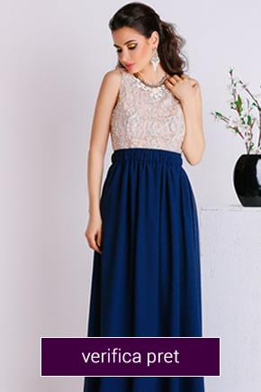 rochie lunga din dantela albastra