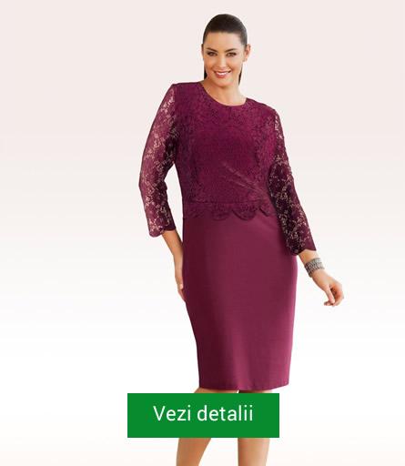 Rochie culoarea marsala cu dantela pentru grasute