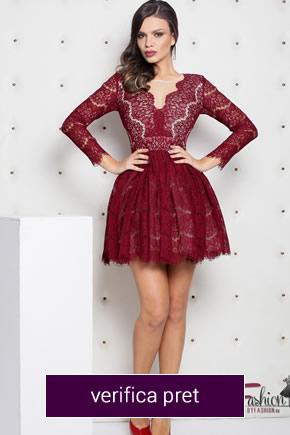 rochie marsala din dantela