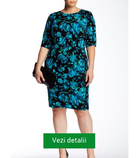 Rochie neagra cu albastru pentru femei plinute