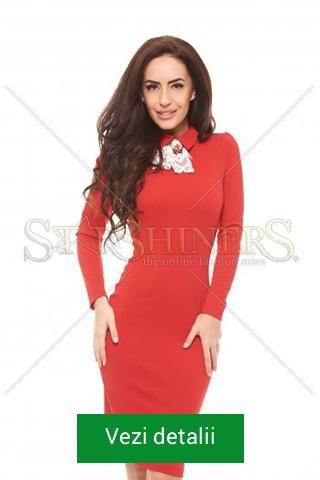 Rochie rosie de Craciun cu maneca lunga
