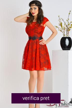rochie rosie cu curea neagra din dantela