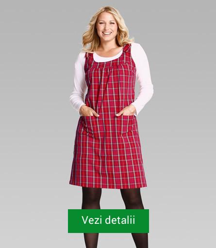 Rochie rosie in carouri pentru femei grasute