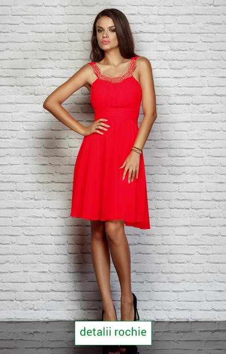 rochie rosie din voal pentru Revelion