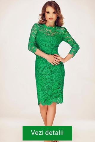Rochie verde din dantela cu maneci trei sferturi
