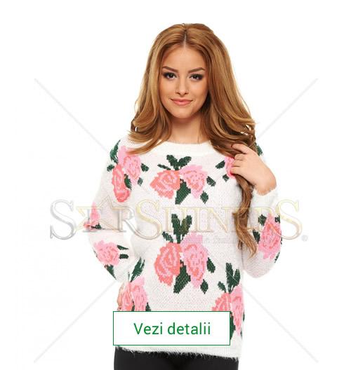 Model de pulover tricotat cu trandafiri