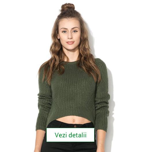 Model de pulover tricotat scurt, culoarea verde
