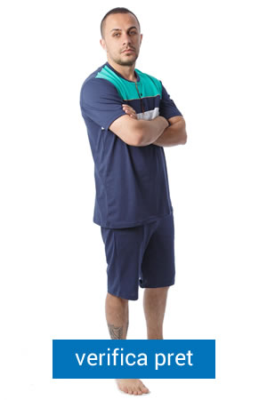 Pijamale SofiaMan cu pantaloni scurti si tricou bleu