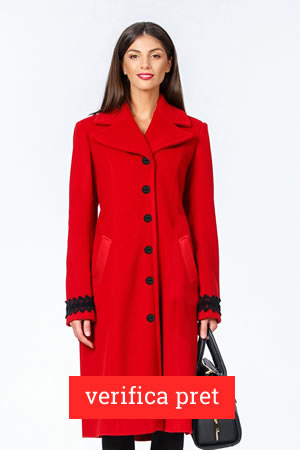 Palton rosu cu reducere de 40%
