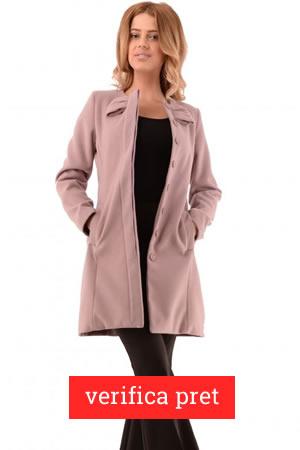 Palton de dama roz pudra redus cu 40%