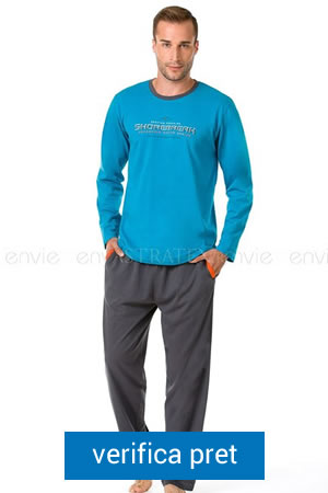 pijama de barbati cu Guler rotund, maneca lunga