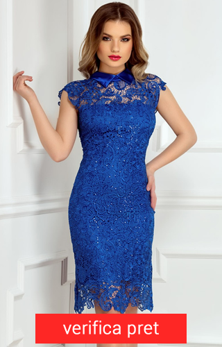 Rochie albastra brodata manual cusuta cu fir de paiete