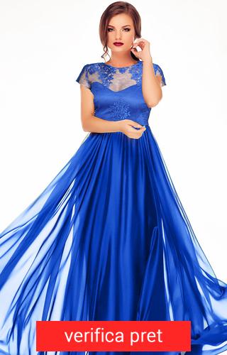 Rochie albastra lunga din voal de matase