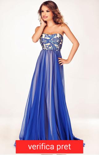 Rochie albastra lunga din voal