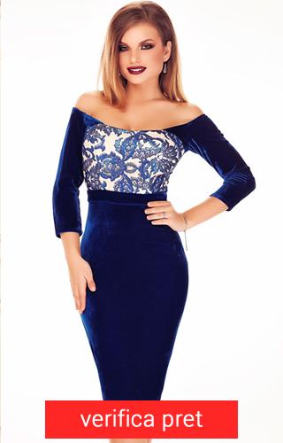 Rochie albastra trei sferturi din catifea cu maneci