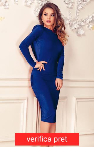 Rochie albastra trei sferturi din catifea