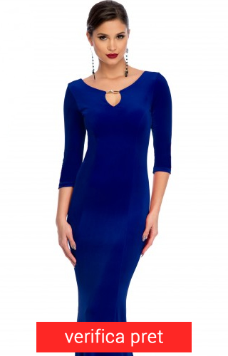 rochie albastra lunga cu catifea