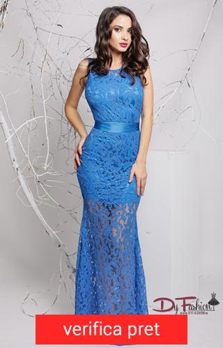 rochie albastra lunga cu dantela