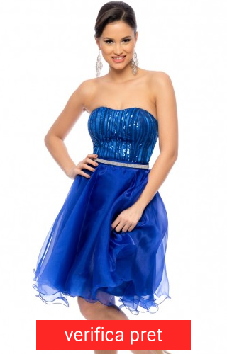 rochie albastra lunga voal