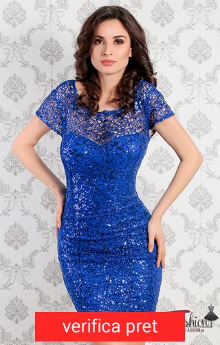 rochie albastru electric cu paiete