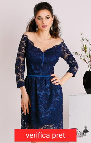 rochie albastru inchis din dantela cu curea