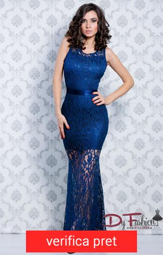 rochie albastru inchis lunga cu dantela