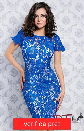 rochie cu dantela albastra