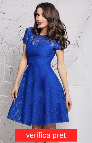 rochie din dantela albastru electric