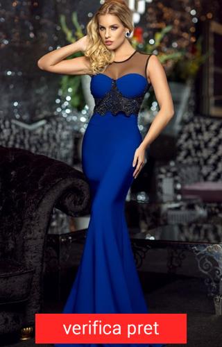 rochie lunga albastru electric