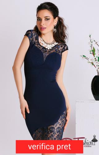rochie mulata culoarea albastru inchis cu dantela