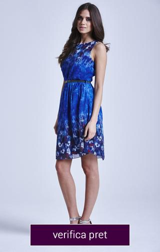rochie scurta albastra cu modele