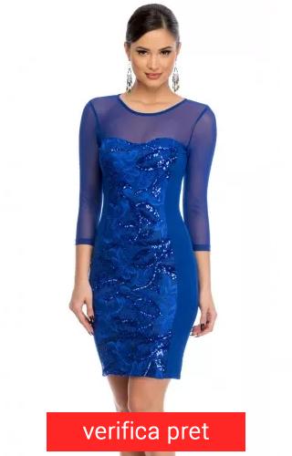 rochie scurta albastru electric cu plasa