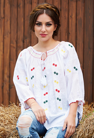 Bluza tip ie traditionala cu snur alb