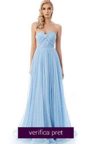 Rochie Ana Radu albastra-deschis de lux tip corset din tul captusita pe interior