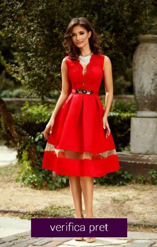 rochie domnisoara de onoare rosie scurta