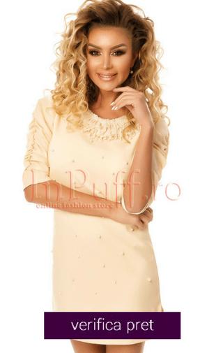 Rochie eleganta accesorizata cu perle si dantela