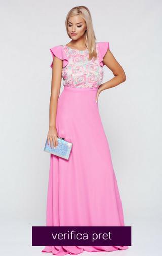 Rochie rosa de ocazie lunga