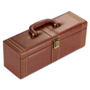 Geanta cadou tip cufar pentru vin, model Vintage cu maner si accesorii incluse