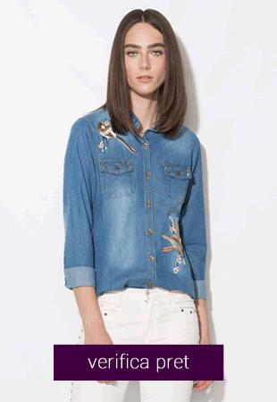 Camasa albastra de chambray cu broderie si tinte