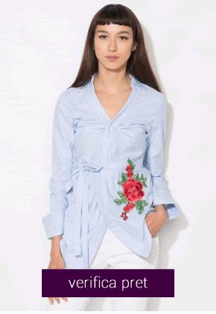 Camasa bleu in dungi cu broderie florala